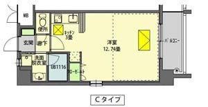 ルネスIT 305号室 Cタイプ 間取り