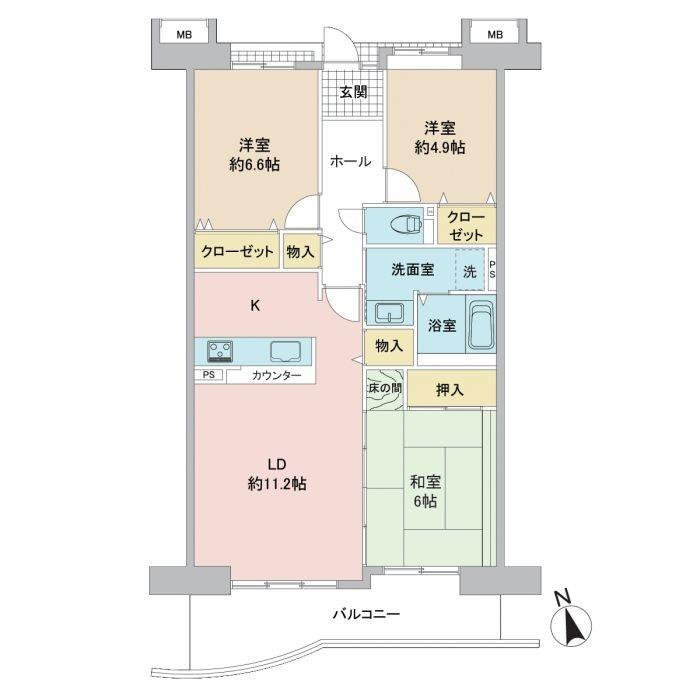 西福岡マリナタウンイーストコート7号棟 205号室 間取り