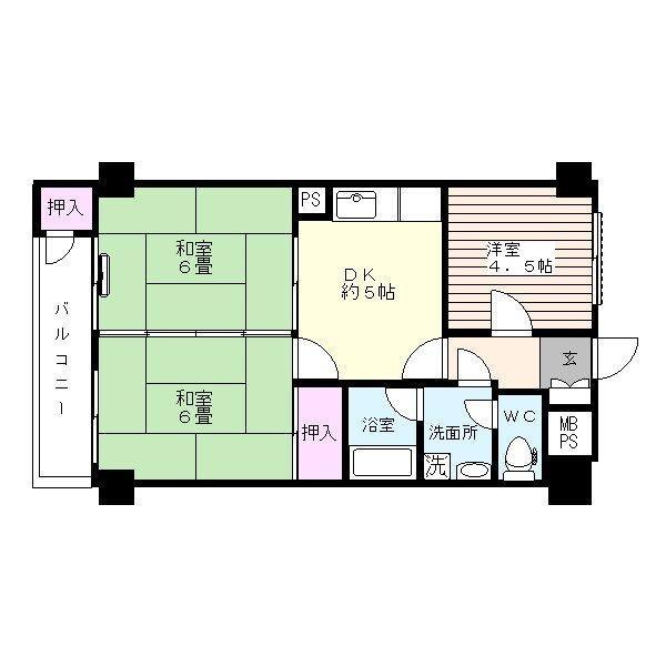 エバーライフ新室見 213号室 間取り